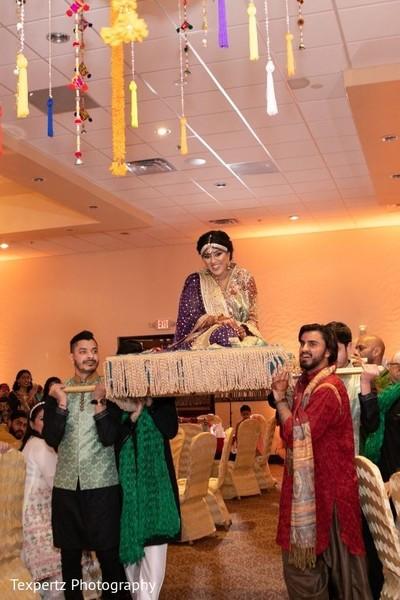 Indian bride's grand entrance to her Mehndi celebration