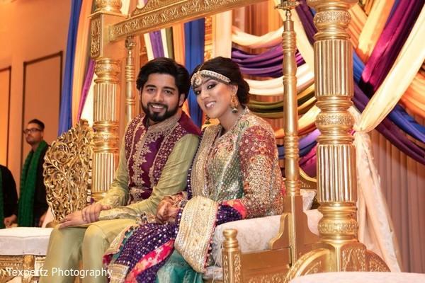 Enchanting Indian couple during Mehndi celebration