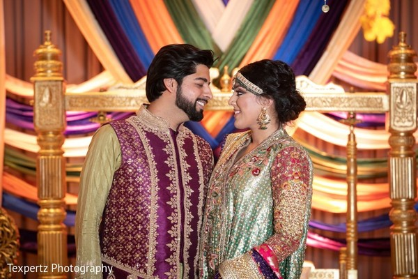 Adorable Indian couple at their Mehndi