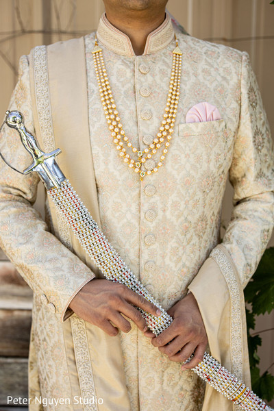 Close capture of Indian groom's fashion choices