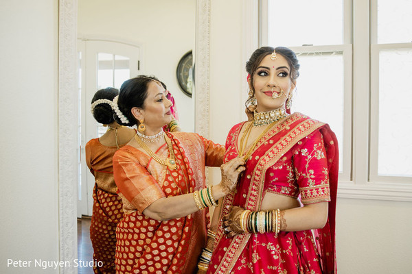 Beautiful Indian bride getting ready for the wedding ceremony