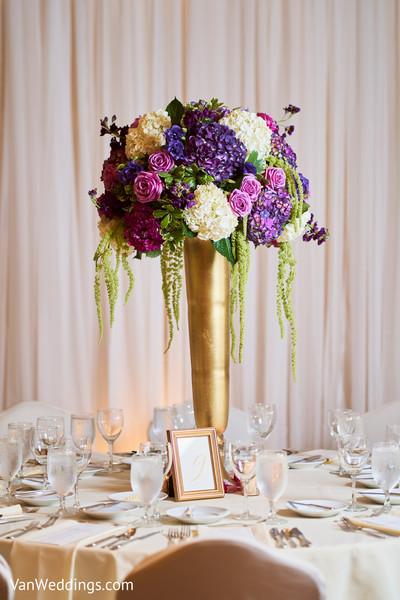 Graceful floral centerpiece and table linens
