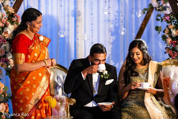 Indian couple drinking tea ritual.