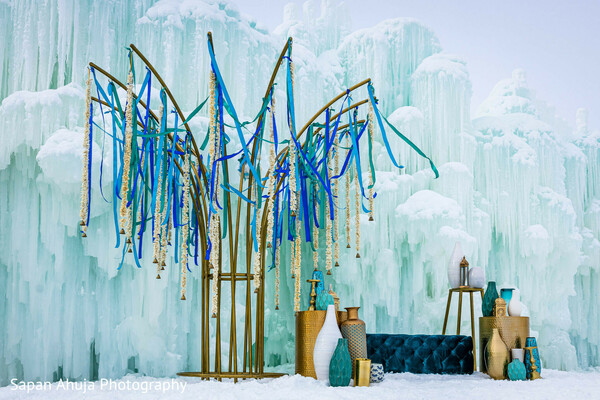 Indian wedding stage with snow decoration.