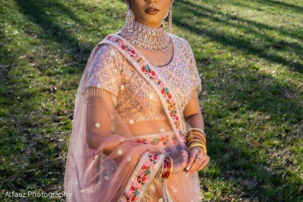 Transparent pink maharani's dupatta.