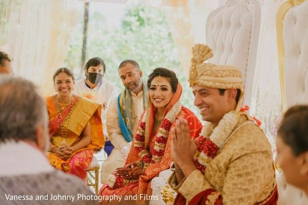 Indian bride and groom at ceremony rituals.