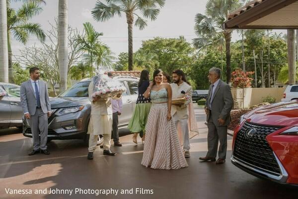 Maharani arriving at her engagement celebration.