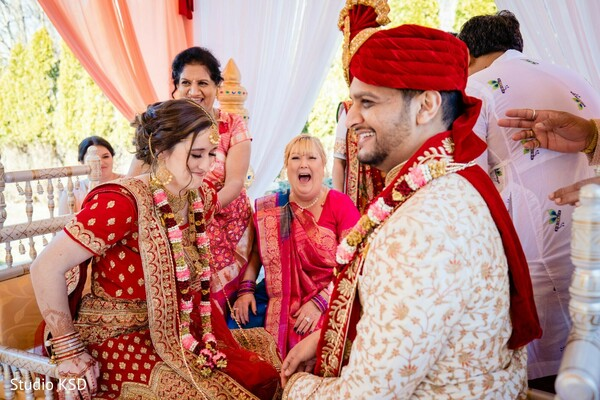 Indian bride and groom during ceremony rituals.