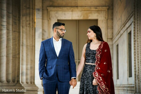 Indian couple looking at each other.