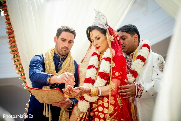 Indian bride nd groom at ceremony rituals.