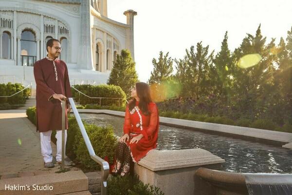 Adorable Indian bride looking at groom.