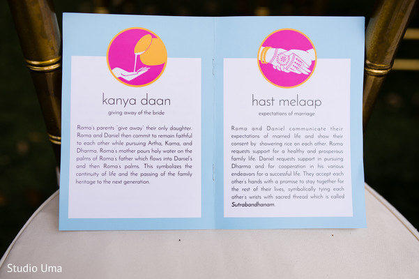 Ceremony programs in Austin, TX Indian Fusion Wedding by Studio Uma