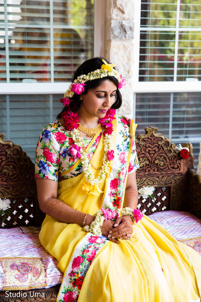 Gaye holud outfit in Austin, TX Indian Fusion Wedding by Studio Uma