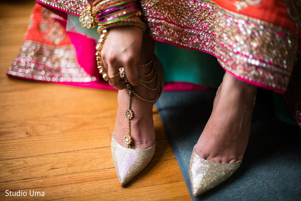 Indian bridal shoes in Austin, TX Indian Fusion Wedding by Studio Uma