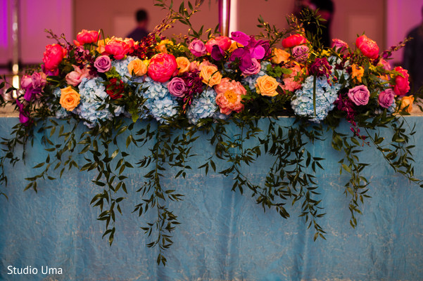 Reception floral and decor in Austin, TX Indian Fusion Wedding by Studio Uma