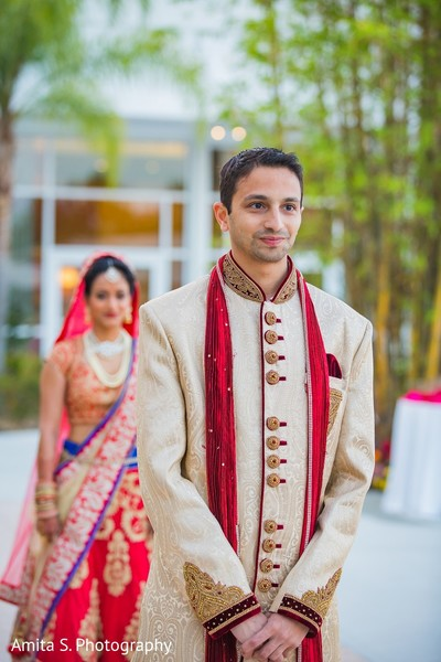 First Look in Orlando, FL Indian Wedding by Amita S. Photography