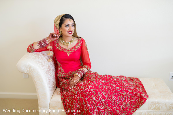 Indian bridal portrait in San Jose, CA Sikh Wedding by Wedding Documentary Photo + Cinema