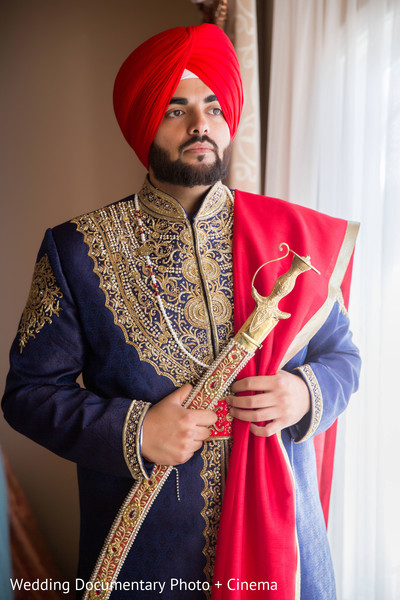 Sikh groom portrait in San Jose, CA Sikh Wedding by Wedding Documentary Photo + Cinema