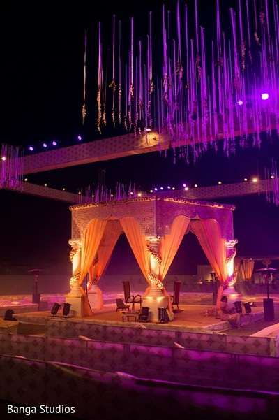 ceremony decor,indian wedding decorations,outdoor wedding decor,lighting,mandap,outdoor mandap