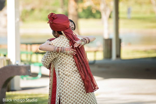 First look portraits in New Orleans, LA Indian Wedding by Black Indigo Studio