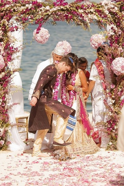 Ceremony in Key Largo, FL Indian Fusion Wedding by Jannette De Llanos Photography