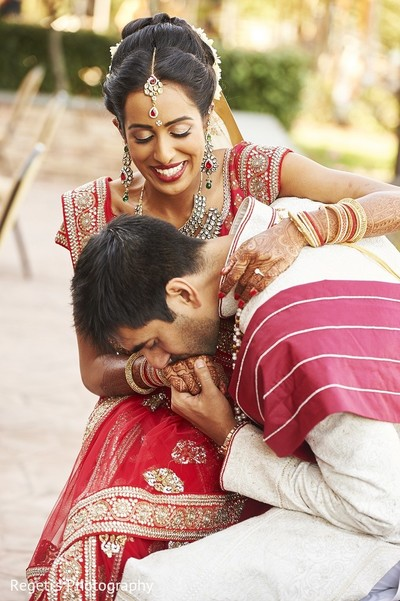 First Look in Leesburg, VA Indian Wedding by Regeti's Photography