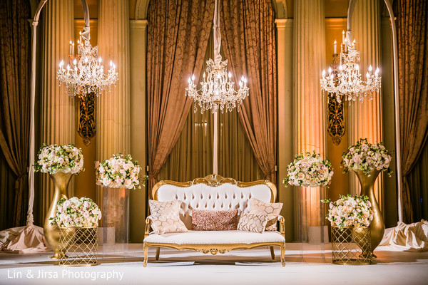 Indian wedding reception floral and decor in Los Angeles, CA Indian Wedding by Lin & Jirsa Photography