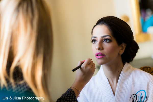 Indian bride getting ready in Los Angeles, CA Indian Wedding by Lin & Jirsa Photography