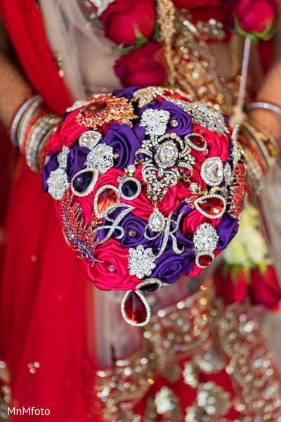 Brooch bouquet in Dallas, TX Indian Wedding by MnMfoto