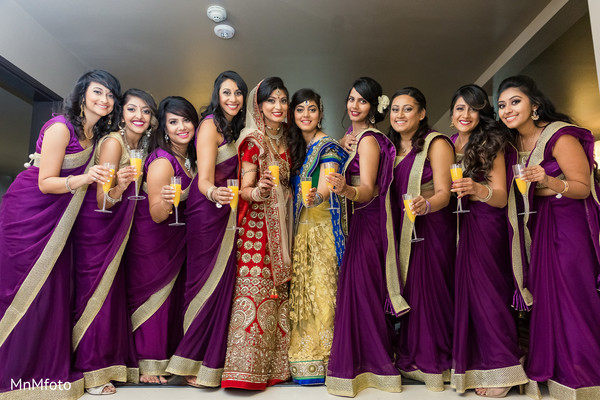 Indian bridal party portrait in Dallas, TX Indian Wedding by MnMfoto