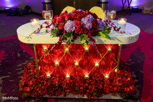 Indian wedding reception floral and decor in Dallas, TX Indian Wedding by MnMfoto