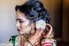 getting ready,indian bride getting ready,hair,updo,nose ring,ring nath