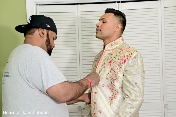 Indian groom getting ready in Woodland Park, NJ Indian Wedding by House of Talent Studios