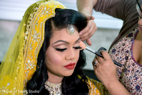 Pre-wedding hair and makeup in Woodland Park, NJ Indian Wedding by House of Talent Studios