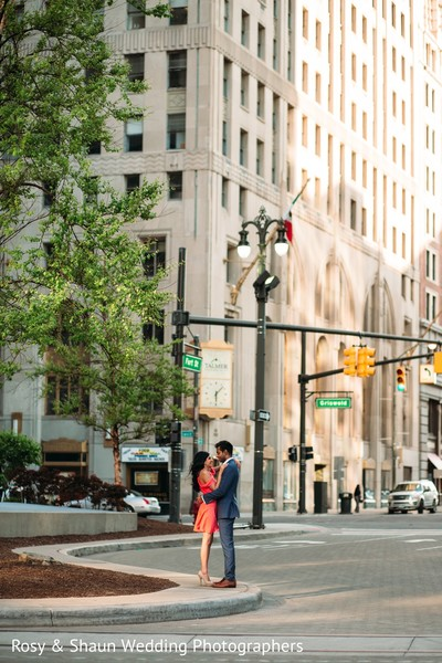 Engagement Portrait in Detroit, MI Indian Engagement by Rosy & Shaun Wedding Photographers