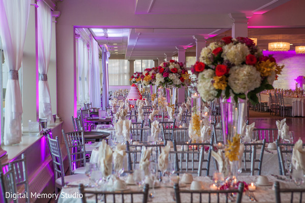 Indian wedding reception floral and decor in Woodbury, NY Indian Wedding by Digital Memory Studio