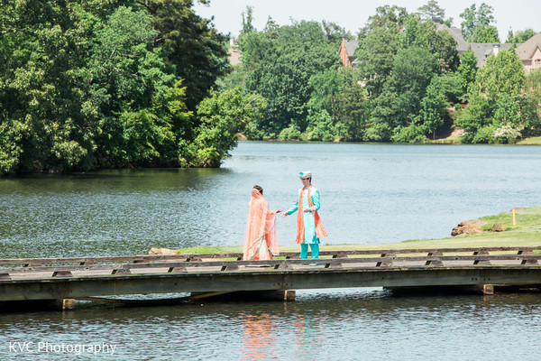 First look in Duluth, GA Indian Fusion Wedding by KVC Photography