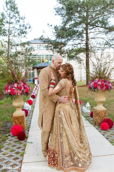 First Look in Virginia Beach, VA Indian Fusion Wedding by Noel Del Pilar Photography
