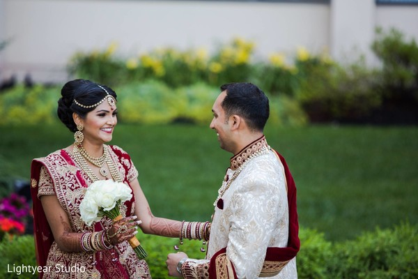 First look portrait in Whippany, NJ Indian Wedding by Lightyear Studio