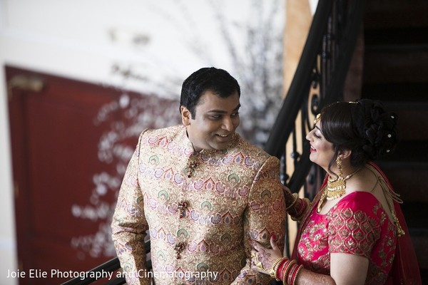 First Look in Cinnaminson, NJ Indian Wedding by Joie Elie Photography & Cinematography
