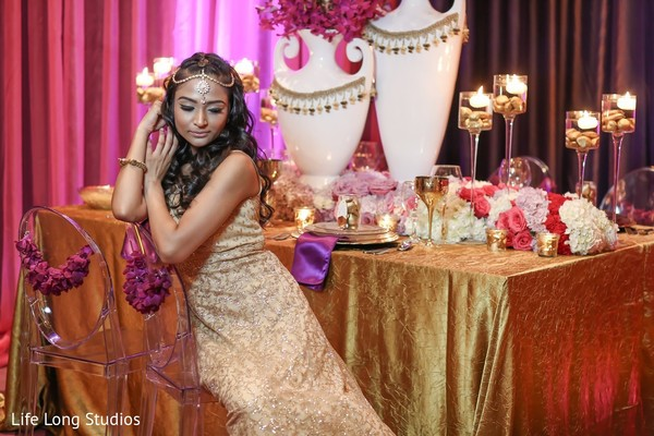 Reception Portrait in Styled Indian Wedding Inspiration Shoot by Life Long Studios