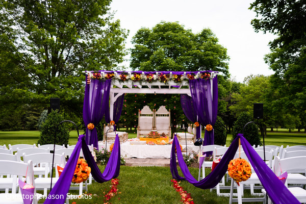 Ceremony Decor in Potomac, MD Indian Fusion Wedding by ChristopherJason Studios