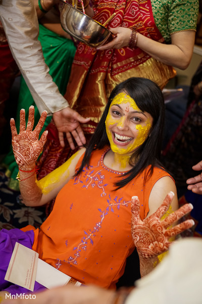 Haldi in Sugar Land, TX Indian Wedding by MnMfoto