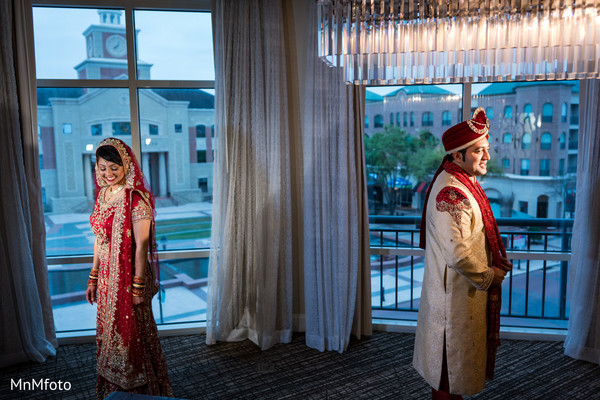First Look in Sugar Land, TX Indian Wedding by MnMfoto