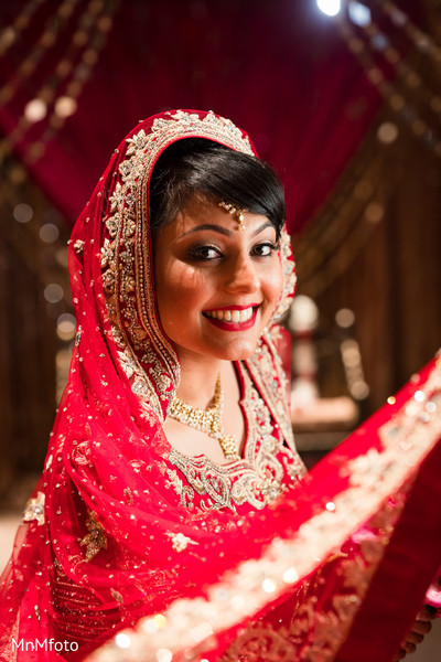 Bridal Portrait in Sugar Land, TX Indian Wedding by MnMfoto