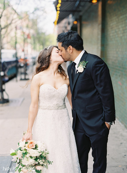 First Look in New York, NY Indian Fusion Wedding by Judy Pak Photography