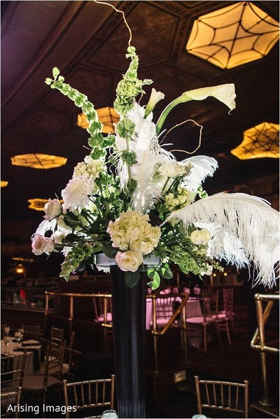 Reception decor in Detroit, MI Indian Wedding by Arising Images