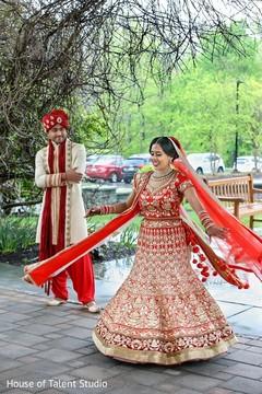 first look portraits,first look,indian wedding,red wedding lengha,red bridal lengha,red lengha,red lehenga,bridal fashions