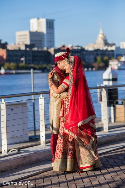 First Look in Savannah, GA Indian Wedding by Events by SPL