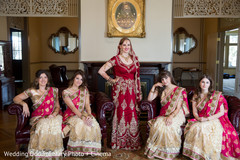 indian bride,indian bridal,indian bridal portrait,bridesmaids,bridesmaids sarees,bridesmaids saris,bridal party,red wedding lengha,red bridal lengha,red lengha,red lehenga,bridal fashions